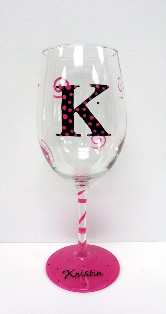 Items similar to personalized wine glasses hand painted for Painted wine glasses with initials