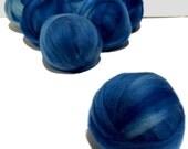 Indigo blue Felting Spinning Fiber, roving, w 3 free fiber samples, variegated, dark blue, peacock blue, light blue *ready to ship*