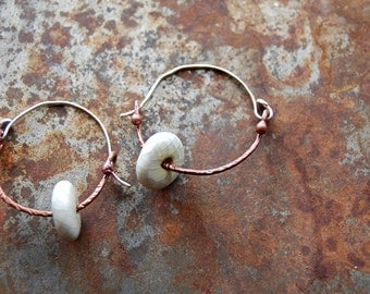 Crackle Drops - White Ceramic Bead and Copper Hoop Earrings