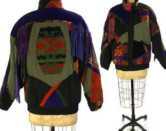 Southwest Patchwork Puffy Jacket / Vintage 1990s Novelty Puffer Jacket with Suede Fringe