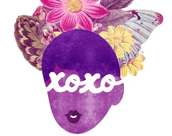 XOXO Typography Print, ( Hugs and Kisses Natural Hair Valentine Illustration)