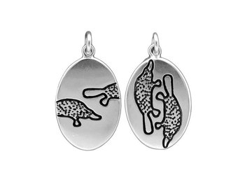 Sterling Silver Platypus Necklace - Silver Platypus Pendant or Medallion
