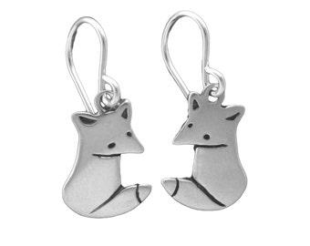 Little Wild Fox Earrings - Sterling Silver Fox Earrings
