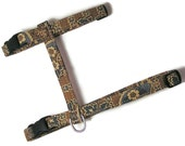 Cat Harness - French Beige Vintage Floral - Cute, Soft and Fancy for Cats and Kittens