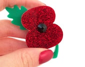 Charity Poppy Brooch Red Acrylic Handmade Swarovski Crystal Remembrance