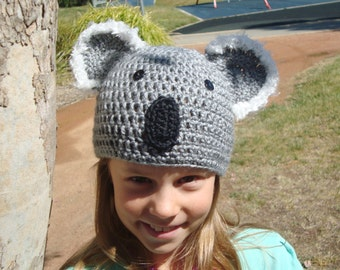 koala bear hat beanie cap with fuzzy ears kid child boy or girl crochet made in Australia