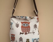 Reserved for Nancy: Small Owl Hobo Bag with Zipper Closure