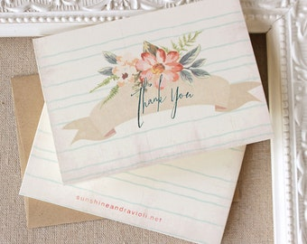 Apricot Watercolor Thank You Notes set of 5
