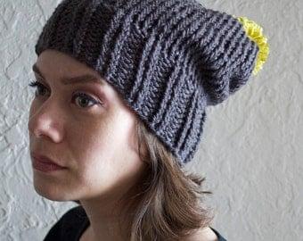 Charcoal Grey Beanie Hat with Pom Pom | charcoal grey | citron yellow pom pom | knitted | handmade | ribbed | trishafern