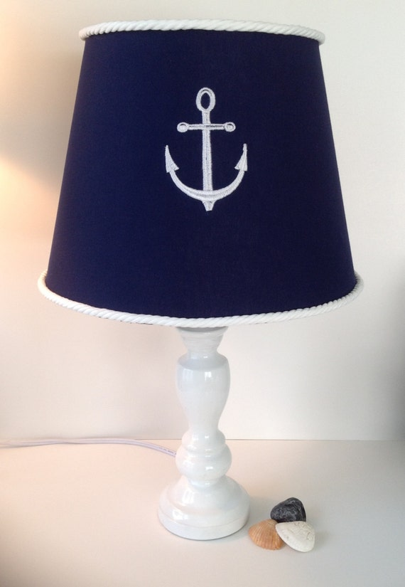 nautical anchor lamp shade navy blue with white rope trim other. Black Bedroom Furniture Sets. Home Design Ideas