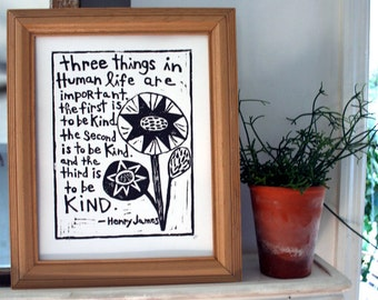 "kind quote linoleum block print - 11""x14"" wall art"