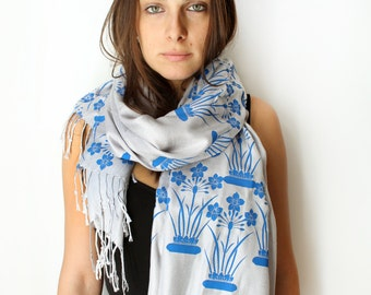 Silk Blend Hand Printed Narcissus Scarf Gray/Blue