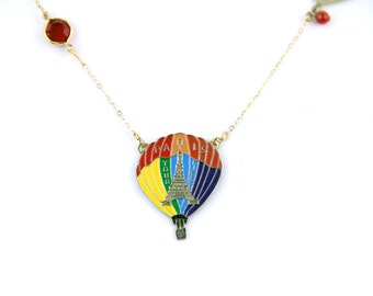 SALE Hot Air - Vintage Hot Air Balloon Pin Necklace