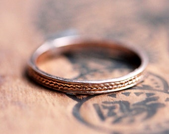 Braided rose gold ring, gold braided ring, 2mm rose gold band, Rose gold wedding band women, thin rose gold wedding band, wheat ring, custom
