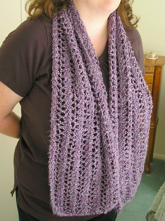 Purple Openwork Scarf