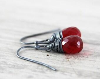 Red Gemstone Earrings, Ruby Red Earrings, Black Oxidized Sterling Silver Earrings, Wire Wrap Earrings, Small Dangle Earrings, Quartz