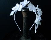 White Floral Headpiece - Ivory Floral Headpiece - Hydrangea Crown - Velvet Floral Crown - Bridal Headpiece - Flower Crown - Bridal Headband