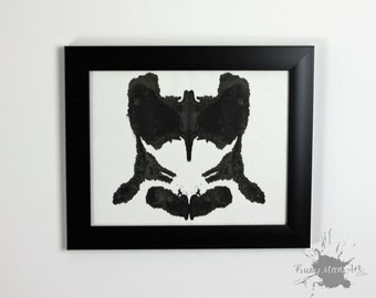 Inkblot art inspired by Rorschach test ORIGINAL 8x10