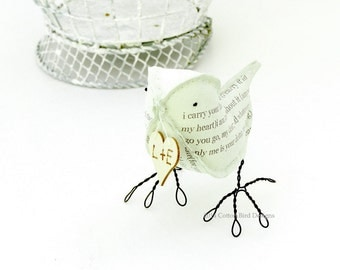 2nd Second Wedding Anniversary Cotton Gift Love Bird Poem Bird and Heart with your initials - Made To Order