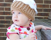 Cupcake Hat Pattern for Making a Crochet One Year Cupcake Hat for One Year Birthday Photo Prop Children