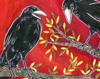 Talking Ravens 6x6 inch print on wood