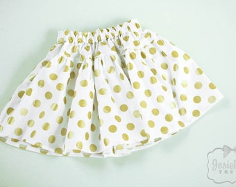 Gold Dot Skirt - Girl Twirl Skirt - Infant Glitz Gold - Tween Skirt - Christmas Toddler Cotton Fabric 6 month to Girl 16