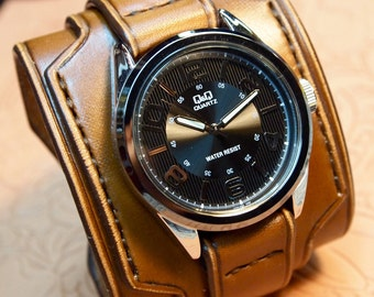 Leather cuff watch Brown leather watchband- Nathan Drake style wide layered Custom made for YOU in NYC by Freddie Matara