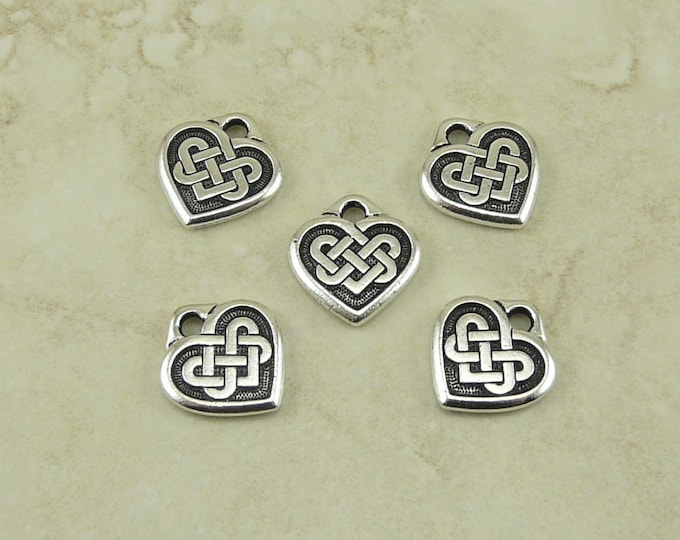 Featured listing image: 5 TierraCast Small Heart Shaped Celtic Knot Charms > Love Irish Ireland - Fine Silver Plated Lead Free Pewter - I ship Internationally 2393