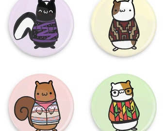 Kawaii Critters Button Set Ugly Sweater 90s 80s Retro Animal Badges
