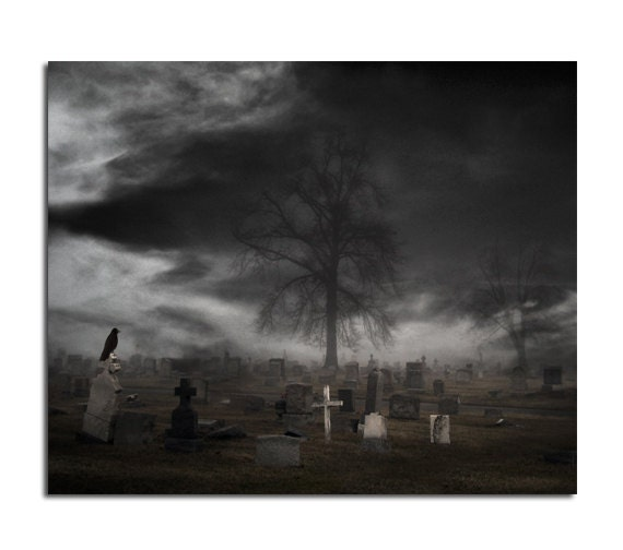 Dark Graveyard, Necropolis, Crow Tombstone, Cemetery, Black And White, Surreal, Gothic Print, Monochrome Tombstones - Looks like Halloween