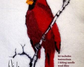 Needle Felting Kit. Cardinal