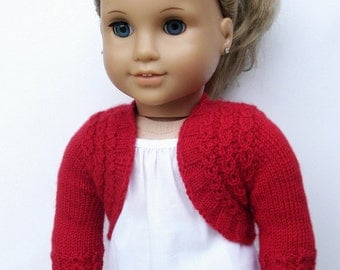 "Charlotte Bolero Sweater - PDF Knitting Pattern For 18"" American Girl Dolls - Seamless Doll Clothes Pattern - Instant Download"