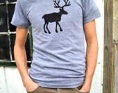 Tshirt Triblend Grey Deer Buck Doe Antlers Reindeer Body Hip American Apparel Men S M L XL 2XL father's day dad shirt gift