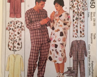 Nightshirt Pajamas Sleepwear for Men and Women McCall's 2950 Pattern size Med 36-38