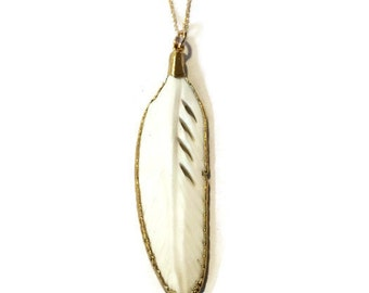 Carved bone feather pendant necklace, 24k edged