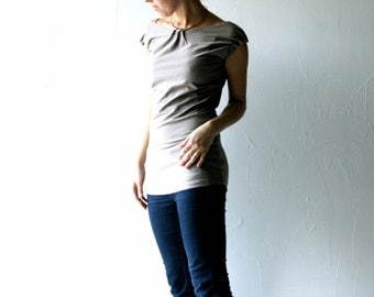 Cotton tshirt, Womens top, Womens clothing, Yoga clothing, Yoga top, Jersey top, Blouse, Sleeveless top, Tunic top, Jersey blouse, Taupe top
