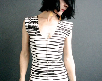 Modern Lovers ~ iheartfink Handmade Hand Printed Short Sleeve Deep Plunge V Neck Striped Jersey Top