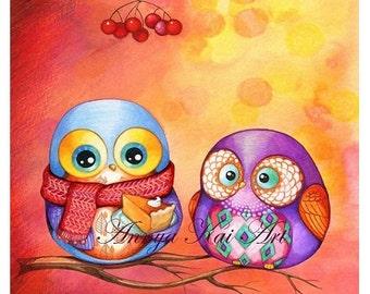 Owl Art Print, Owl Art, Owl Painting, Watercolor Art, Little Cute Owl, Art Print, Watercolor Owl Print, Illustration