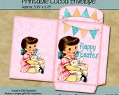 Instant Download - Printable Cocoa/Treat Envelope - Retro Easter Girl with Bunny - Digital PDF and/or JPG File