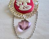 Brooch. Pink Rose Crystal Cameo Lolita Skeleton. Steampunk.