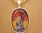 Pippi  recycled comic book pendant
