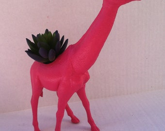 Pink Giraffe Planter Great Dorm, Nursery, Decor or Baby Shower Gift Ready to Plant