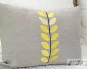 Yellow Vine Linen Pillow Cover