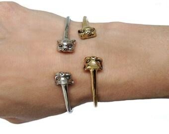 Cat Bracelet        cuff silver cuff kitten kitty jewelry