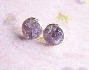 Amethyst Earrings, Crushed Gemstone, Amethyst Stud Earrings, Post Earrings, Gemstone Stud Earrings, under 25, February Birthstone Gift