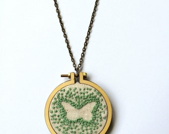 Mini Embroidery Hoop Pendant - Butterfly - Hand Embroidered