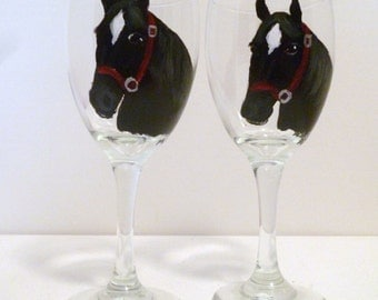 Black & White Horse Hand Painted  Wine Glasses set of 2 Pet Lovers Boutique