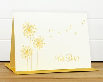 Custom Stationery / Custom Stationary - BREEZE Custom Notecard Set - Dandelion Teacher Thank You