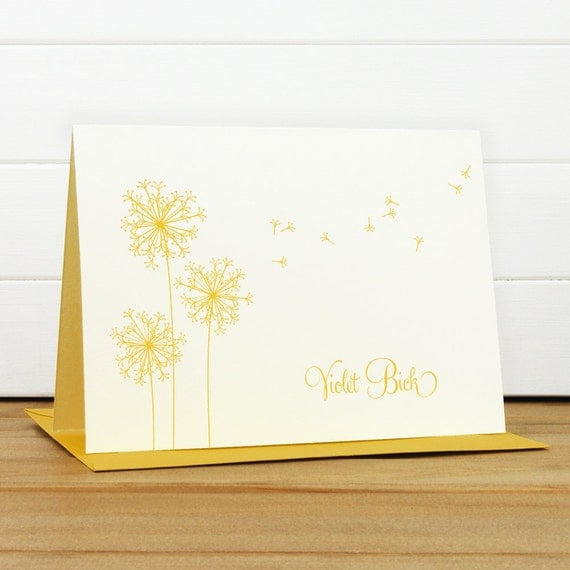 Personalized Stationery Set / Personalized Stationary Set - BREEZE Custom Personalized Note Card Set - Dandelion Teacher Thank You