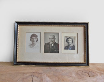 Antique Picture Frame with Three Black and White Photographs : Portrait Frame With Cut Mat For 3 Little Pictures, Wide Narrow Triptych Frame